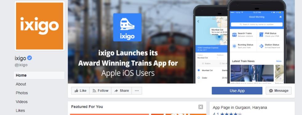 IXIGO Facebook Page