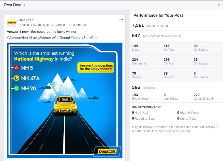 Bookcab Facebook campaign getting likes and shares