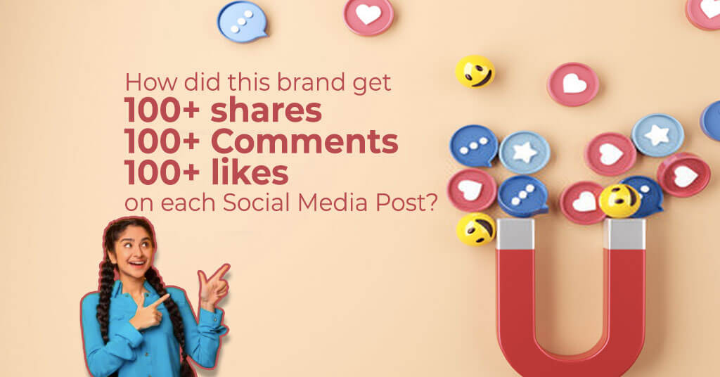 How did this brand get 100+ shares on each Social Media Post?